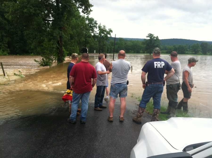 Rescue crews responded to a flooded road in Blain, Perry County, around 5:30 p.m. Friday after storms moved through.