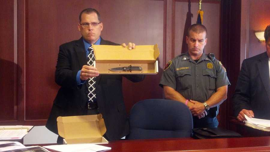 Officials show a knife they say a homeless man pulled on police before being fatally shot.