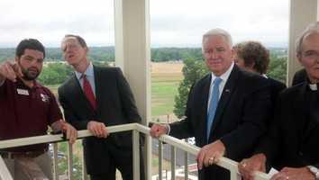 Gov. Tom Corbett and Sen. Pat Toomey take in the view in Gettysburg.