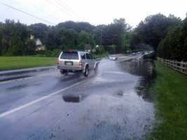Here the creek floods onto Marietta Avenue in Lancaster Township.