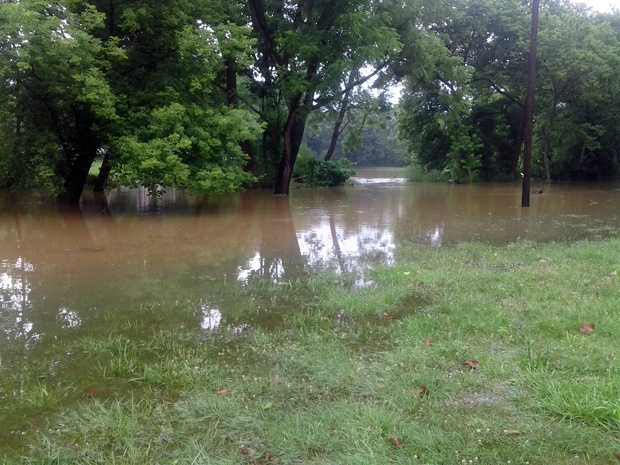 The Little Conestoga crested its banks Monday morning after overnight storms.