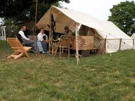 Camp life with re-enactors.