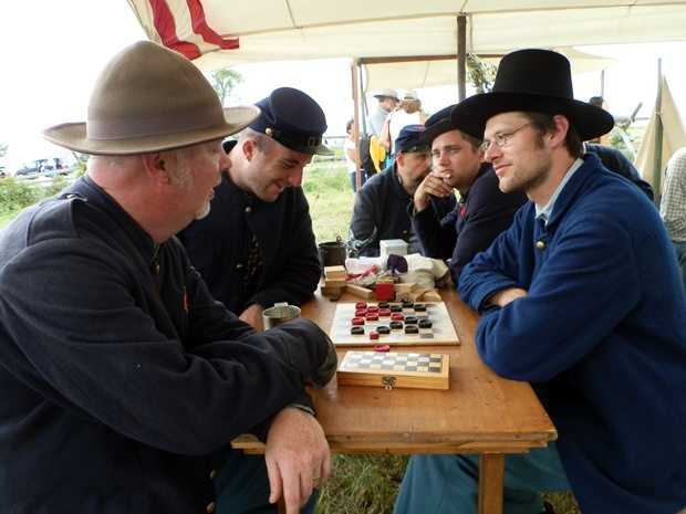Re-enactors meet on July 2 of the 150th commemoration of the Battle of Gettysburg.