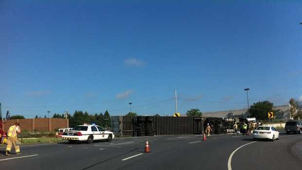 A u local member shared this picture of the toppled tractor-trailer.