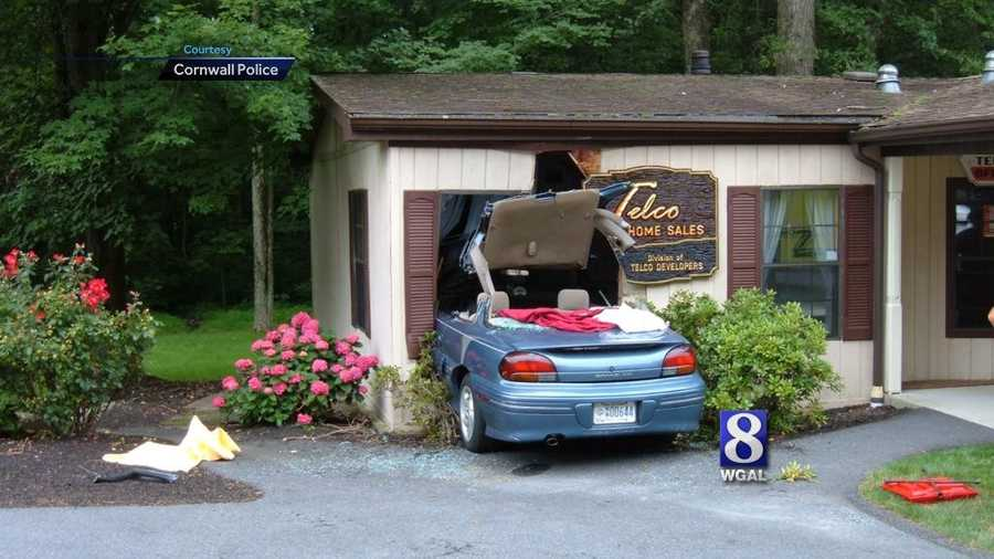 A 90-year-old woman drove her car into a business in West Cornwall Township, Lebanon County, on Tuesday morning.