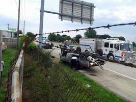 Barker lost control of his vehicle, which struck the guardrail and flipped on its roof, police said. He suffered minor to moderate injuries. Montes was cited for a lane change violation.