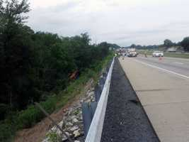 The truck, which was carrying coffee, went over an embankment near mile marker 86.