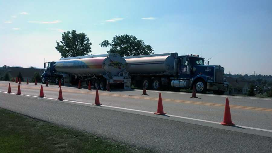 Lane restrictions were in place while the tanker, which was filled with gas, was emptied.
