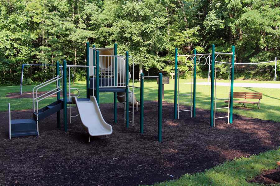 Play equipment is near both picnic pavilions.