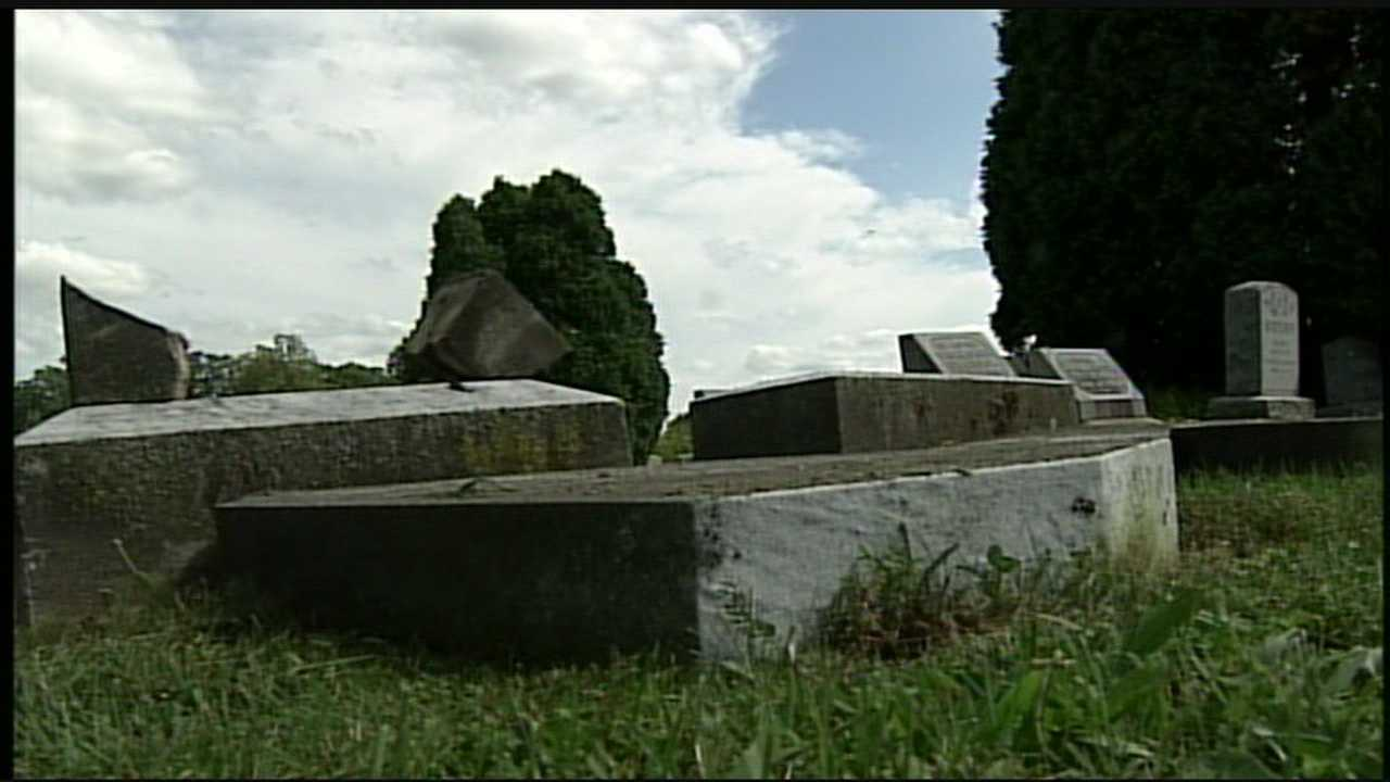 Dozens of tombstones, some more than 100 years old, have been knocked over at a York County cemetery.