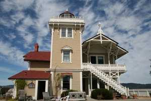 """Lighthouse Living: East Brother Light Station, Point Richmond, California. Situated on a strait between San Francisco and San Pablo Bay, this Victorian lighthouse offers a romantic, one of a kind stay. Following a 10-minute ferry ride, travelers will immerse themselves in the stunning scenery and lavish guest rooms, and relish the exquisite, fresh fare. """"It's amazing that folks pass this hidden treasure on a daily basis and have no idea of the prospect of relaxation and solitude that awaits,"""" commented a TripAdvisor traveler."""