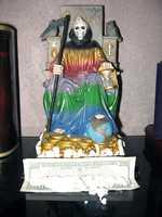 ALa Santa Muerte statue.