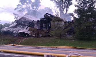Fire destroyed a 100-year-old barn in York County on Monday afternoon.