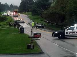 A car flipped over Tuesday morning when it hit standing water along a road in Windsor Township, York County.