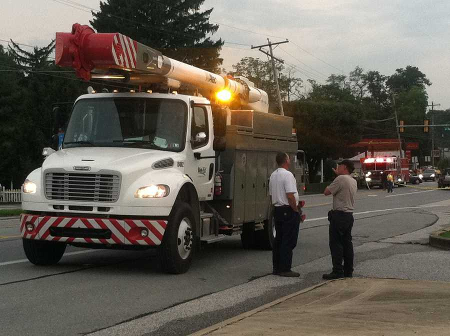 A truck crashed through a utility pole in Hellam Township Tuesday evening, knocking out power for hundreds of homes.