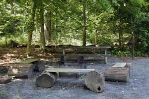 Fire rings and picnic tables are located near each cabin.