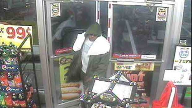 The robber was caught on surveillance camera.
