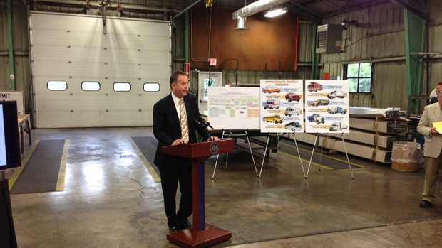 Transportation Secretary Barry Schoch talks to the media Thursday morning.