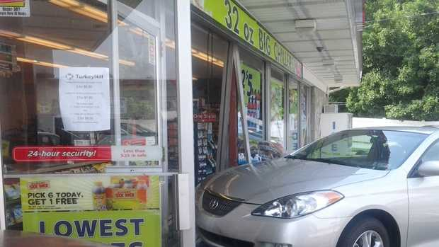 The crash happened around 11 a.m. at the store on Manor Avenue.