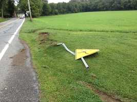 This and the following photos show the crash scene later Thursday morning.