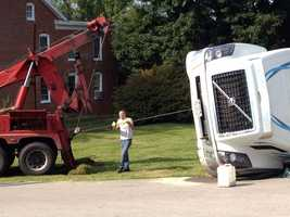 The tanker overturned about 5 a.m. Monday at the intersection of Iron Ridge and Old Hanover roads.