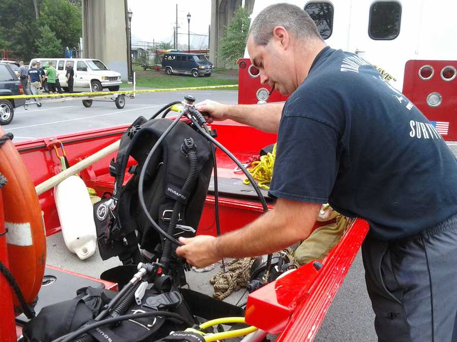 Crews get ready Thursday morning to resume the search for the body of a 7-month-old boy in the Susquehanna River near the Route 462 bridge.
