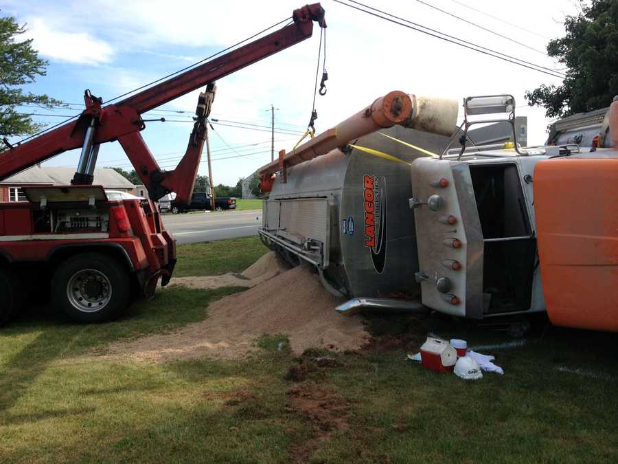 The truck was traveling westbound about 7:30 a.m. Tuesday when it struck a mini-van near Church Road.