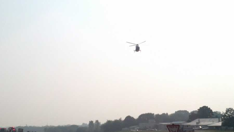 A medical helicopter approaches Smoketown Airport in Lancaster County to airlift a man who was injured when an experimental aircraft crashed on take off.