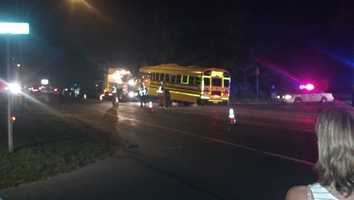 Police arrested a 19-year-old man early Thursday morning in Leola, Lancaster County, after they say he crashed a stolen school bus into a tree in the front yard of a home.