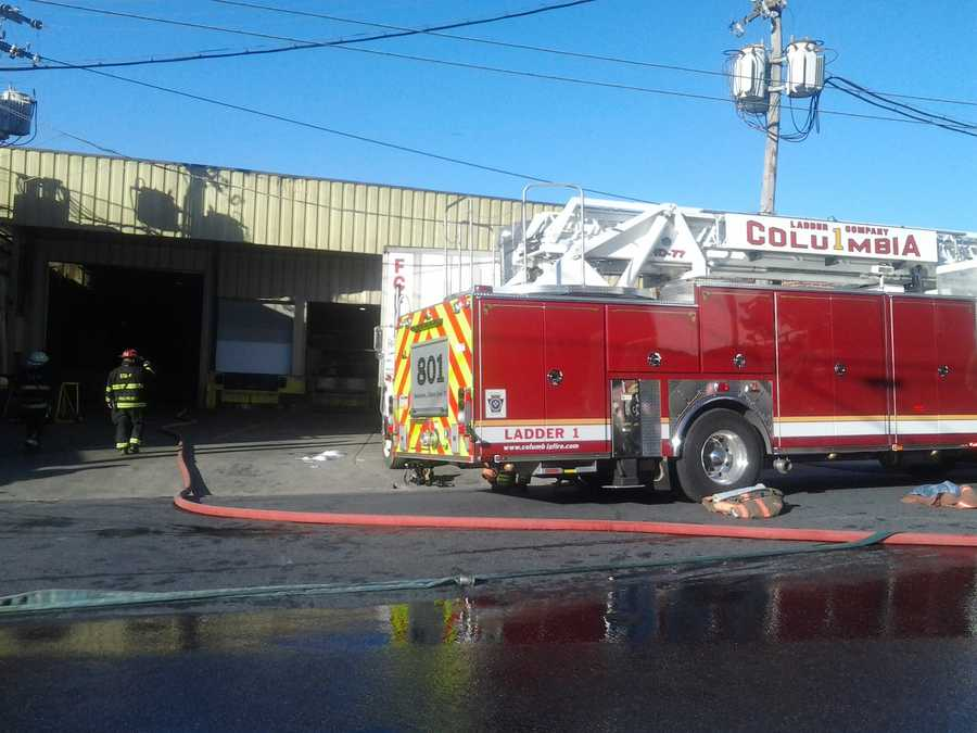 Firefighters put out a fire Tuesday morning at Colonial Metals in Columbia, Lancaster County.