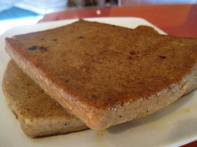 It may be an aquired taste, but we found many scrapple fans among respondents. Scrapple is scraps of pork and other meats shapped into a loaf and cooked.