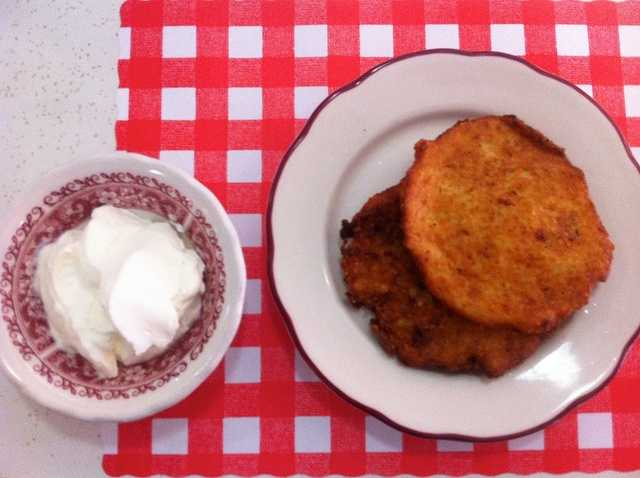 Bleenies, which are a type of potato pancake.