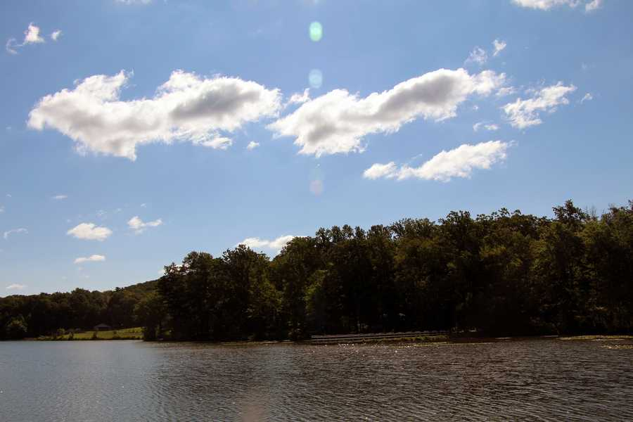 Park visitors may boat and fish on the 68-acre lake.