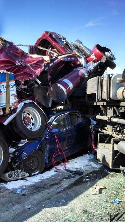 Trucker Chester Teats, of Carlisle, drove by the crash. He told News 8 that he's never seen so many cars piled up at one time.