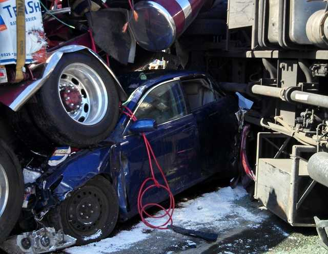 A devastating chain-reaction crash left 7 people hurt and a pile of twisted metal on I-83 on Thursday afternoon.