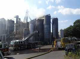 Crews in Denver, Lancaster County, battled a silo fire on Wednesday afternoon.