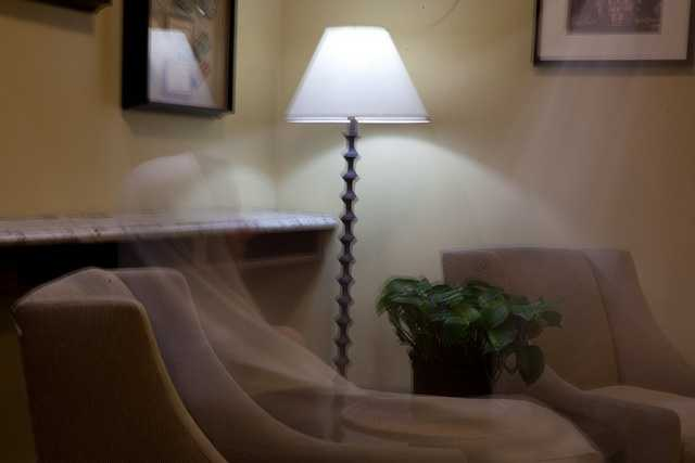 """9. The photographer writes, """"The ghost of the Sainte Claire Hotel in San Jose Ca is real. Check the first floor during a wedding. She seems to enjoy appearances but only if you slow down enough to see her. I can't explain it. Only a long exposure can even capture her. Yet here she is."""""""