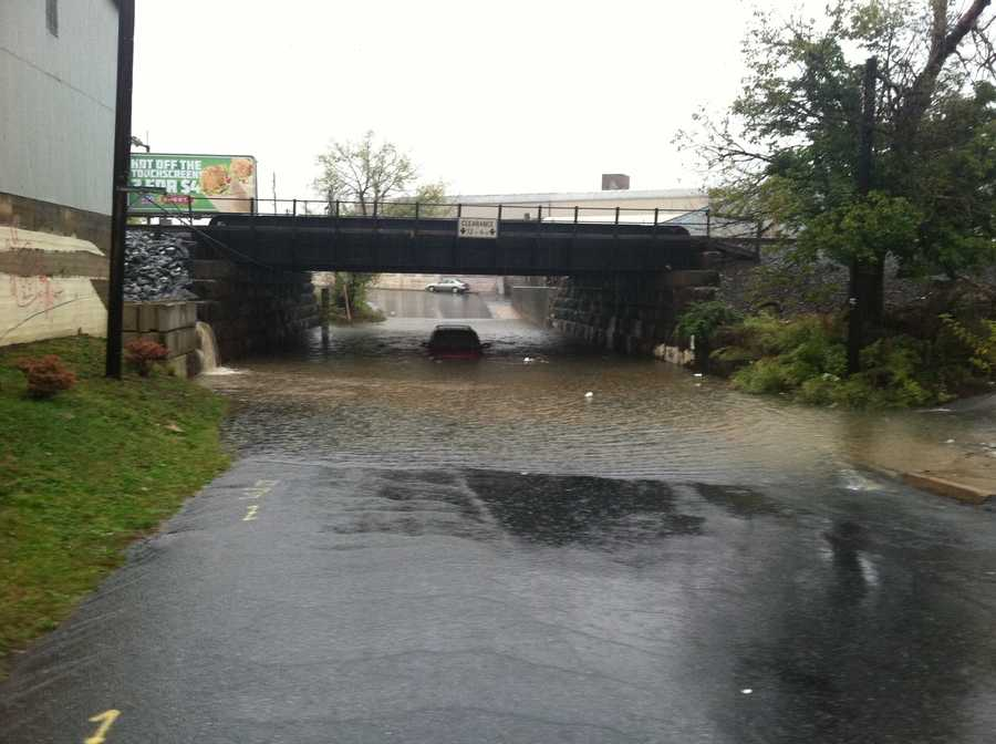 A van got stuck under a bridge Friday morning at Plum and Liberty streets in Lancaster.