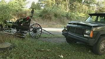 Monday, Oct. 14: Two people were hurt when an SUV collided with a horse and buggy Sunday near Beaver Valley Pike and Otsu Road in West Lampeter Township. Officials said a young child was thrown from the buggy and taken to a hospital. An adult was also injured in the crash. The driver of the SUV was OK.