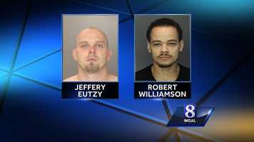 Monday, Oct. 14:Harrisburg police have charged two men in connection with an armed robbery.Jeffery Eutzy, 30, and Robert Williamson, 27, took two women's purses at gunpoint Sunday morning in the area of North Third and Hamilton streets, police said.Williamson then fought with officers trying to take him into custody and broke free after being put in a police cruiser, police said.Investigators said an officer used a stun gun on him and he managed to grab it from the officer, but police were able to get it back.