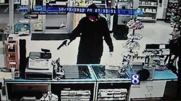 Monday, Oct. 14:A string of robberies in Cumberland County may be related, according to police. Lower Allen Township police released a surveillance photo of Sunday night's robbery at the B and H Mart in the 3600 block of Simpson Ferry Road. The robber kept a gun pointed on a store employee during the robbery, police said. Investigators said they think the robber may be the same who held up the Lucky Mart in Mechanicsburg Friday and a Pizza Hut in Mechanicsburg on Thursday.