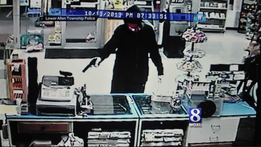 Monday, Oct. 14: A string of robberies in Cumberland County may be related, according to police. Lower Allen Township police released a surveillance photo of Sunday night's robbery at the B and H Mart in the 3600 block of Simpson Ferry Road. The robber kept a gun pointed on a store employee during the robbery, police said. Investigators said they think the robber may be the same who held up the Lucky Mart in Mechanicsburg Friday and a Pizza Hut in Mechanicsburg on Thursday.