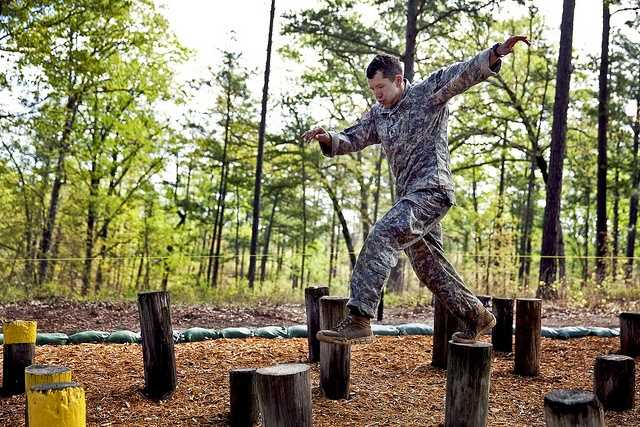 21. Staff Sgt. Christopher Peiffer moves through the Island Hopper Obstacle on Darby Queen during the 2013 Best Ranger Competition, April 12, 2013 at Fort Benning. Peiffer is assigned to the 75th Ranger Regiment.