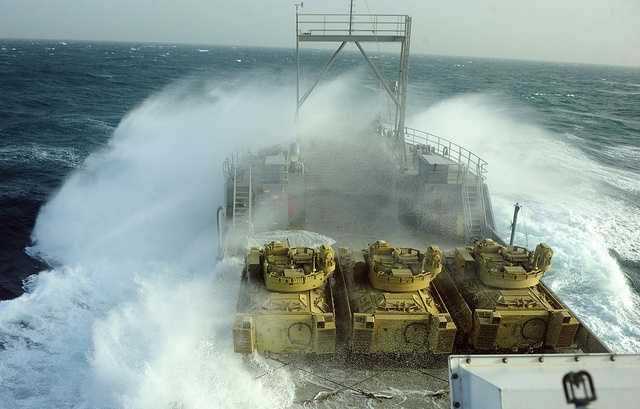 26. Waves crash over the side of U.S. Army Vessel Churubusco on the Persian Gulf, Jan. 9, 2013 during a training mission named Operation Spartan Mariner. The mission, conducted by 3rd Armored Brigade Combat Team, 3rd Infantry Division, 47th Transportation Company, 420th Movement Control Battalion and 316th Expeditionary Sustainment Command, consisted of 19 vehicles being loaded on four USAVs to take part in multiple drills and exercises at sea.