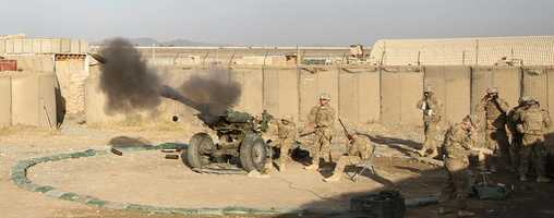 """27. A howitzer team assigned to Battery B, 3rd Battalion, 320th Field Artillery Regiment, 3rd Brigade Combat Team """"Rakkasans"""", 101st Airborne Division (Air Assault), fires their M119A2 Howitzer during a live-fire exercise at Camp Clark, Afghanistan, Jan. 14, 2013. The 105mm was shot in support of a training mission to certify forward observers from the 1st Squadron, 33rd Cavalry Regiment."""