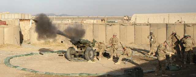 "27. A howitzer team assigned to Battery B, 3rd Battalion, 320th Field Artillery Regiment, 3rd Brigade Combat Team ""Rakkasans"", 101st Airborne Division (Air Assault), fires their M119A2 Howitzer during a live-fire exercise at Camp Clark, Afghanistan, Jan. 14, 2013. The 105mm was shot in support of a training mission to certify forward observers from the 1st Squadron, 33rd Cavalry Regiment."