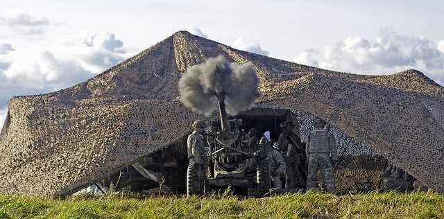 37. Capt. Andrew Eickbush, an Artillerymen in 4th Battalion, 25th Artillery Regiment, fire the howitzer during the fire support certification exercise at Fort Drum.