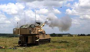 """4. Soldiers from B 1-82 FA at the Fort Hood training area in support of 2nd""""Stallion"""" Battalion, 8th Cavalry Regiment, 1st """"Ironhorse"""" Brigade Combat Team, 1st Cavalry Division, live fire exercise."""
