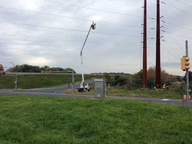 Traffic will be stopped for 20 minutes at a time until 2 p.m. as PPL crews install new utility poles.