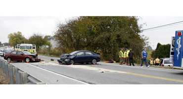 """""""Preliminary investigation indicates a vehicle operated by Heather Zerbe, age 36, of Elizabethtown, PA, pulled from a driveway onto Route 272 and collided with a northbound vehicle, on Oregon Pike, operated by Mark Tedford, age 64, of Palmyra, PA. The impact caused Tedford's vehicle to collide with a southbound vehicle operated James Murphy, age 81, of Lancaster, PA,"""" a West Earl Township police news release stated."""